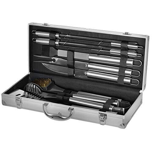 Grill Heat Aid Stainless Steel Grilling Accessories Set Complete Tool Kit with Scraper, Brush, Meat Knife, Skewers & More the Outdoor BBQ Master's Choice, 10 Piece