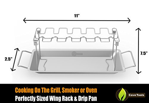 Chicken Wing & Leg Rack For Grill Smoker or Oven – Stainless Steel Vertical Roaster Stand & Drip Pan For Cooking Vegetables In BBQ Juices – Dishwasher Safe Barbecue Accessories by Cave Tools