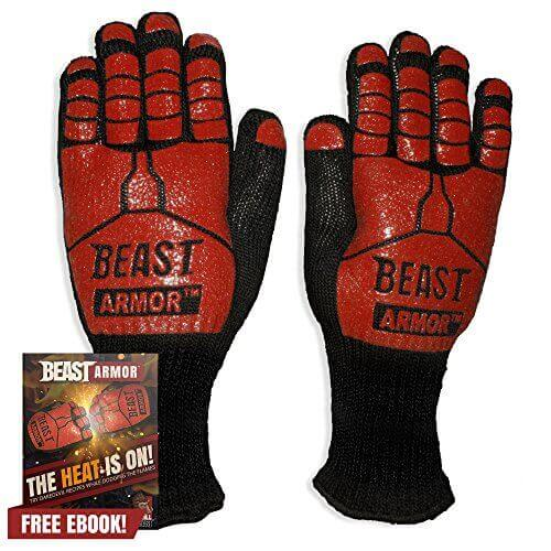 Grill Beast BBQ Grilling Cooking Gloves – Heat Resistant Kevlar & Silicone Insulated Protection – Smoker and Kitchen Accessories