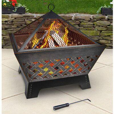 Landmann 25282 Barrone Fire Pit with Cover, 26-Inch, Antique Bronze