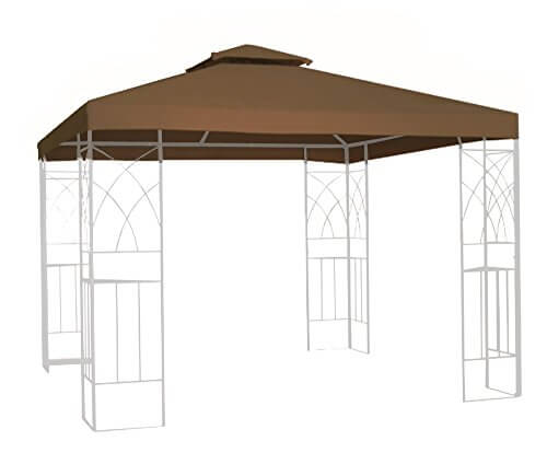Kenley 2-Tier 10×10 Replacement Gazebo Canopy Awning Roof Top Cover – Waterproof 250g Canvas – 10′ x 10′ – Beige