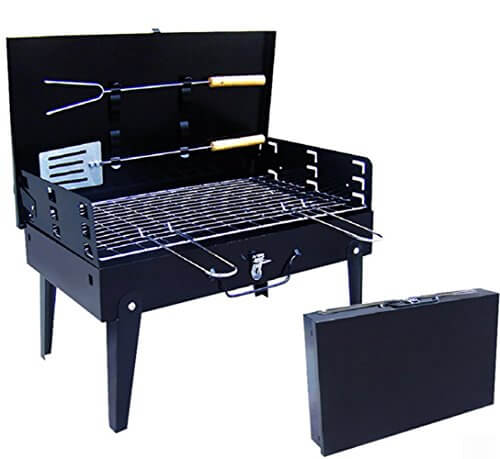 QOCOO Portable Fold-able Legs Stainless Steel Outdoor Camping Holiday Travel Cookouts Charcoal BBQ Grill Box Yakitori Kebab Satay Roast Mutton Beef Vegetables or Grilled Fish Corn Kit Black