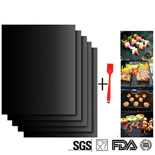 ZCHING Set of 2 Grill Mat-100% Non-stick BBQ Grill & Baking Mats ,Reusable and Easy to Clean,Reusable for Gas/Charcoal/Electric Grill- 15.75 x 13 Inch with Silicone Basting Brush