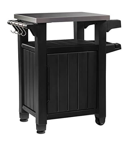 Etonnant Keter Unity Indoor Outdoor BBQ Entertainment Storage Table / Prep Station  With Metal Top