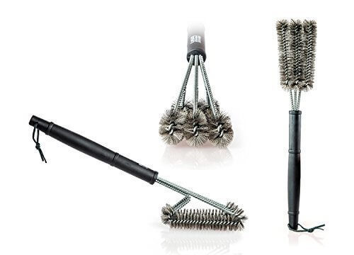 Expert Grillers – Barbecue Grill Brush – Perfect for your Char-Broil Grill – 3 in 1 Stainless Steel Bristles – Perfect Cleaner for Grill Cooking Grates and Racks