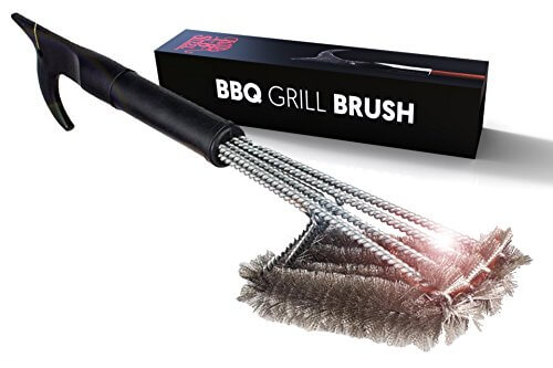 Best Grill Brush 4-In-1 Head Design | 18″ Grill Cleaner Scraper Tool | Lifetime Replacement | Steel Bristles, Won't Scratch Grate | Perfect BBQ Tools Gift For Men, BBQ Grill Accessory | USA Designed