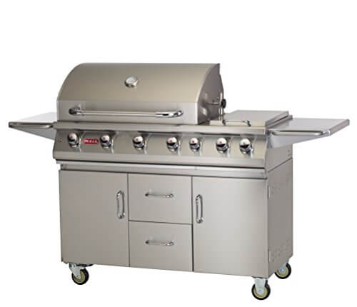 Bull Outdoor Products 28368 47-Inch 7 Burner Premium Stainless Steel Gas Barbecue Cart with Built-in Dual Sideburner and Infrared Back Burner, Liquid Propane