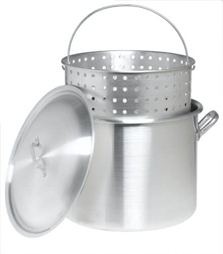 Bayou Classic 8000 80-Quart Aluminum Stockpot with Boil Basket