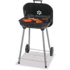 1 X Charcoal Grill, Backyard Grill 17.5″, Grills up to 15 Burgers. Porcelain enamel cooking grid. With 2 plastic wheels for easy transport. Dimensions: 18.31″L x 5.22″W x 18.5″H