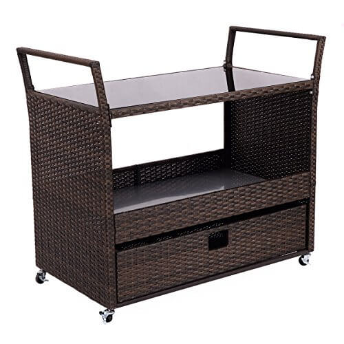 Giantex Rolling Portable Rattan Wicker Kitchen Trolley Cart Dining Restaurant W/Shelves