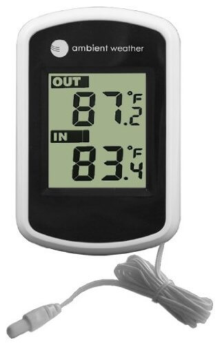 Ambient Weather Compact WS-02 Indoor/Outdoor Thermometer with Probe, 1-Pack
