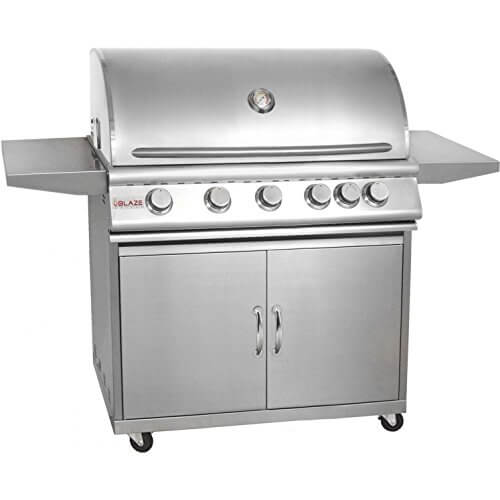 Blaze BLZ-5NG + BLZ-5-CART 40″ Grill on Cart with 5 Commercial Quality 304 Cast Stainless Steel Burners Infrared Rear Rotisserie Burner 80 000 Total BTUs and 915 Square Inches of Total Cooking Space in Stainless Steel: Natural