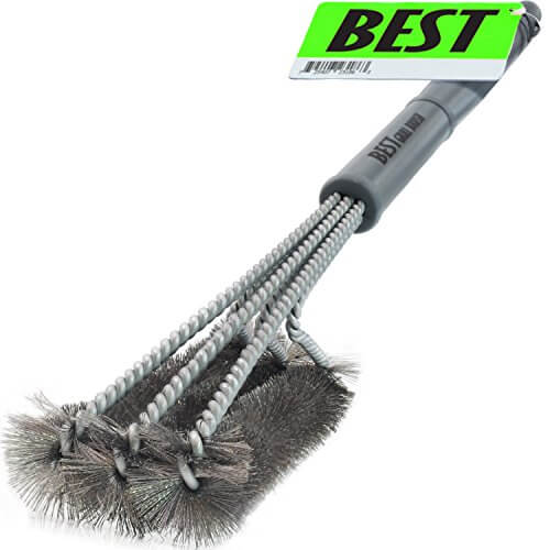 Best BBQ Grill Brush STAINLESS STEEL) 18″ Barbecue Cleaning Brush with Wire Bristles and Soft Comfortable Handle – Perfect Cleaner & Scraper for Grill Cooking Grates, Racks, & Burners