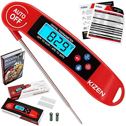 Kizen Digital Meat & Cooking Thermometer – Instant Read, Talking, Back Light, Collapsible Probe, Auto-off. Comes in Premium Gift Box, with eCookbook. For Food, Kitchen, BBQ, Grill! (Red)