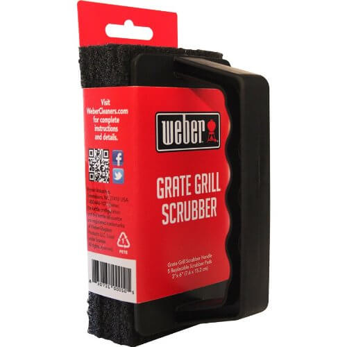 Weber Grill Brush Scrubber – Heavy Duty Grate Cleaner – With 3 Replaceable Pads