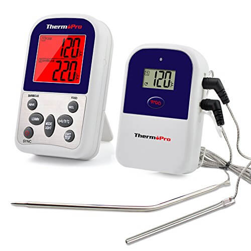 ThermoPro TP12 Digital Wireless Remote Kitchen Cooking Food Meat Thermometer/Timer with Dual Probe for Oven Grill Smoker BBQ, 300 Feet Range