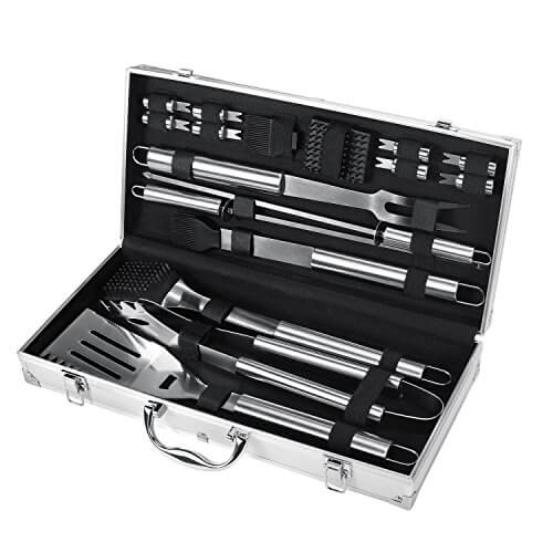 FYLINA BBQ Grilling Tools Set 17-Piece Stainless Steel BBQ Grilling Heavy Duty with Aluminum Storage Case A Perfect Gift For Outdoor Grilling