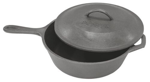 Bayou Classic 3 Qt Cast Iron Skillet with Helper Handle Domed Lid