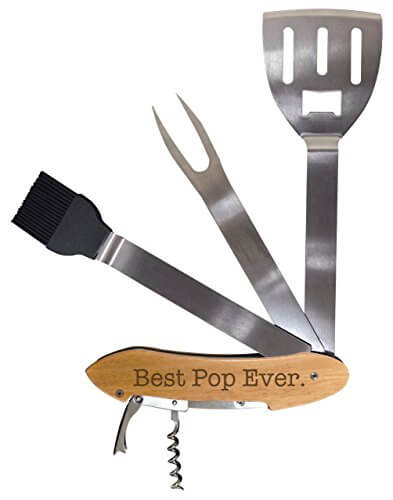 Grilling Tools for Grandpa Best Pop Ever BBQ Grill Multi Tool Barbecue Spatula Retirement Gift