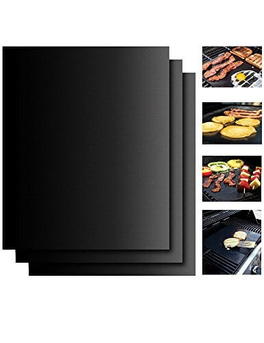 Grill Mat Set Of 3 – 100% Non-Stick Grilling Accessories & BBQ Grill Mat – Easy to Clean and Reusable – Works on Gas, Charcoal, Electric and More – 15.75 x 13 Inch