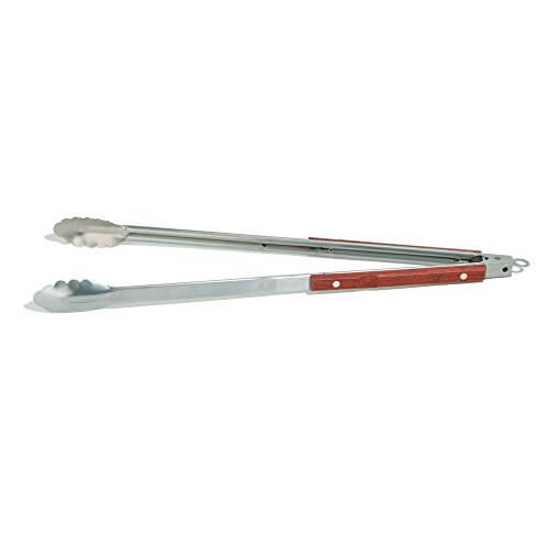 Outset QB22 Rosewood Collection Extra-Long Locking Tongs, Stainless Steel