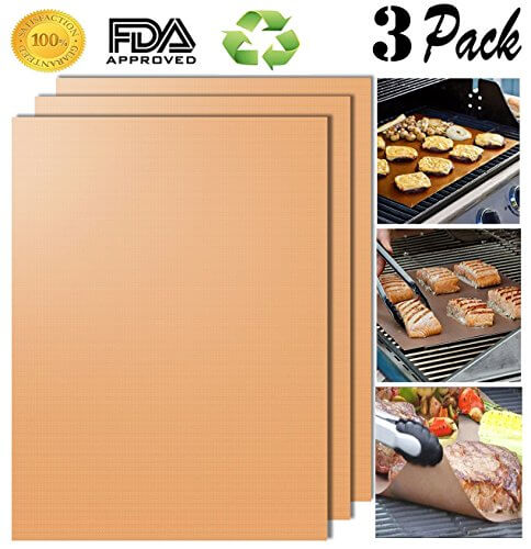 BBQ Gold Grill Mat Set of 3- 100% Non-stick Grill & Baking Mats – FDA-Approved, PFOA Free, Reusable and Easy to Clean – Works on Gas, Charcoal, Electric Grill and More – 15.75 x 13 Inch BEHAPPY