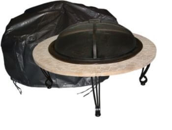Outdoor Round Fire Pit Vinyl Cover w/ Felt Lining & Fabric Ties