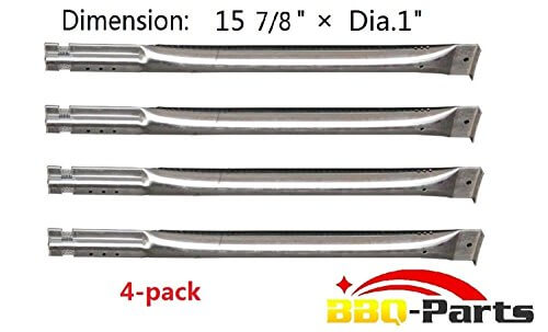 Hongso SBE591 (4-pack) Replacement Straight Stainless Steel Pipe Burner for Charbroil, Charmglow, Sears Kenmore, Centro and Other Grills (15 7/8