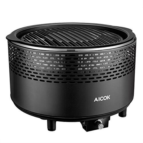 Aicok Smokeless Charcoal Grill,  Portable Charcoal Grill, Barbecue Grill for Backyard, Electric Fan, Travel Bag, Black