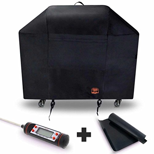 Yukon Glory 7107 Grill Cover for Weber Genesis Series – Waterproof & Weatherproof Vinyl Gas BBQ Winter Protector FREE BONUS MEAT & POULTRY THERMOMETER + BBQ GRILLING MATT