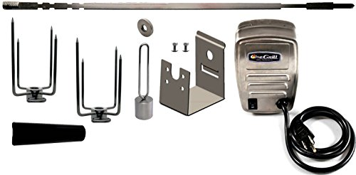 OneGrill Weber Fit Stainless Steel Complete Grill Rotisserie Kit W/ Electric Motor (Fits: All 300 Series Genesis/Genesis II/Spirit)