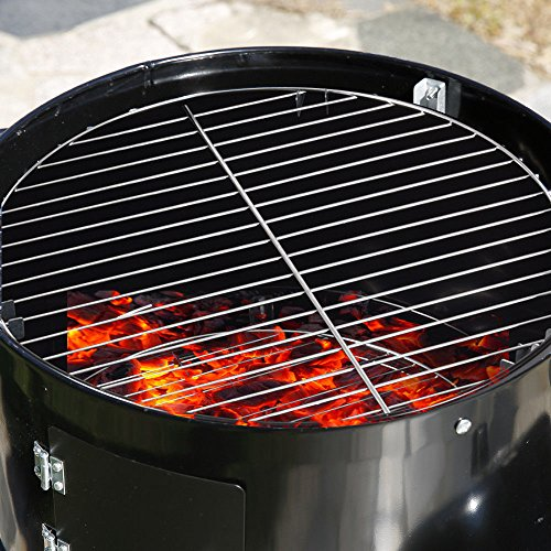 Edxtech 3 in 1 Portable Charcoal Vertical Smoker BBQ Lover Roaster Grill Steel Steamer