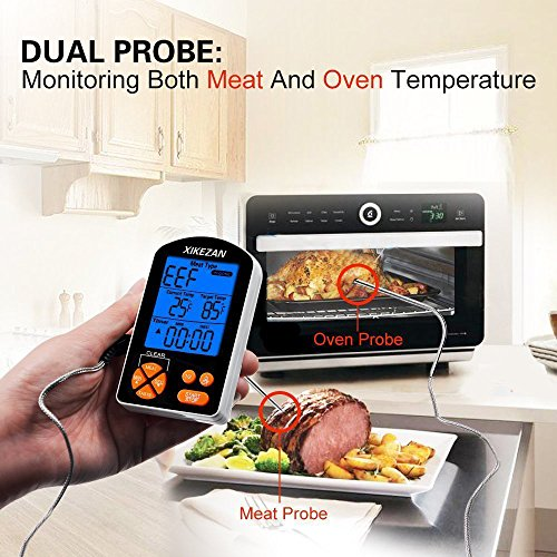 XIKEZAN Waterproof Dual Probe Meat Thermometer Instant Quick Read Kitchen Digital Electric Cooking Food Candy Thermometers for BBQ Oven Grilling Turkey Steak Baking Smoker Liquids Water Bread w/ Timer
