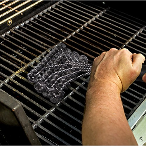 Solid Clean Grill Brush | BBQ Grill Brush with 4 Scrubbing Heads – Bristle Free Barbecue Grill Cleaner | Safe For Gas & Porcelain, Ceramic, Stainless Steel, Iron-2 Free Grill Mats Holiday Bonus