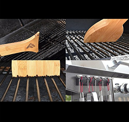 FEROS KIT – (2 items!) Safer Scraper Wood Grill Cleaner AND Magnetic BBQ Grill Tool Accessory Holder– Holds 4 Utensils and 5 Thermometers! Great to hold spatula, tongs, brushes