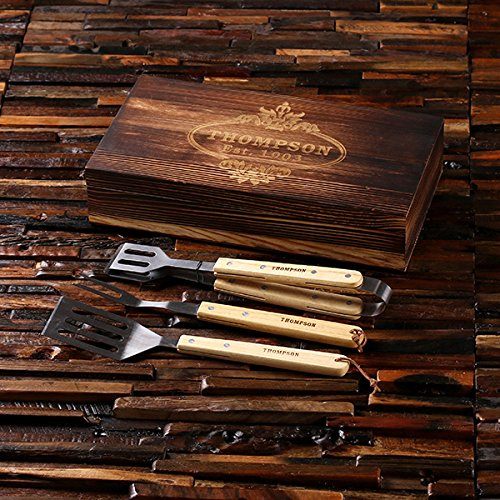 DG Personalized Barbeque BBQ Grill Tool Set with Custom Box – Add a Name or Brand – Family Housewarming Holiday Gift Set