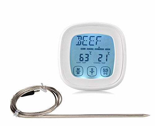 Androra Touchscreen Oven Meat Thermometer & Timer Accurate Digital Best Grill Cooking Thermometers with Probe,Best Cooking Thermometer for Kitchen Oven Grilling Candy Food and Smoker