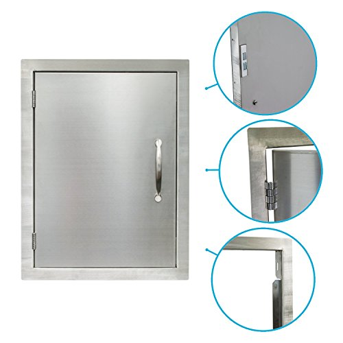 "Houseables BBQ Access Door, Stainless Steel, Vertical, Single, 17 x 24 Inch, Commercial Grade, ½"" Thick Frame, Patio Island Cabinet, Outdoor Barbecue Grill Kitchen, Flush Mount, Chrome Handle"