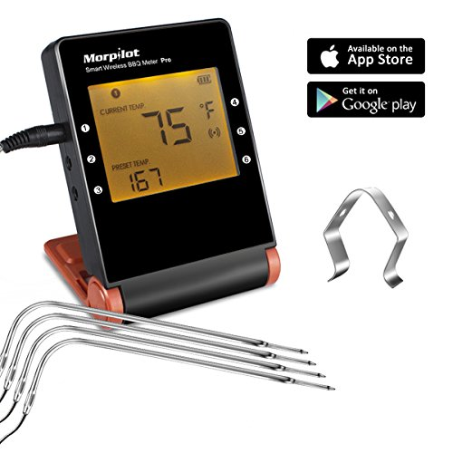 MorPilot MP-18 Wireless Remote Digital Cooking Meat Thermometer 4 Probes 1 Clips for Grilling Smoker BBQ Cooking Food Thermometer, Wireless Monitors Cooking Food from 160 Feet, Probes Guaratee