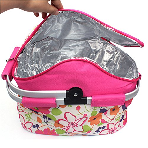 Ezyoutdoor 20L Insulated Picnic Basket Large Aluminum Frame Basket Cooler Bag Ultra-size Folding Collapsible Basket for Holidays Parties Outdoor Travel Picnic Grill (Pink)