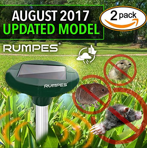 Solar Repellent Spike: 2-Pack, (Water Resistant with LED Lights) Gopher, Rodents, Moles, Voles, Mice, Rats, Snakes, Shrew, Pests Water Resistant Solar Powered Ultrasonic Repeller RUMPES