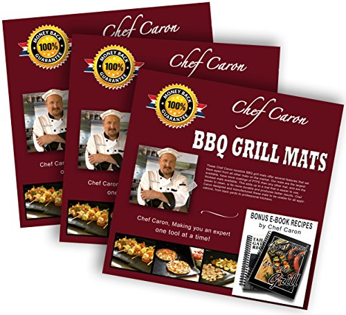 Bundle of 3 sets – bbq grill mat by Chef Caron – each set with two heavy-duty grilling sheets – nonstick, ultra-slick, extra thick .25mm