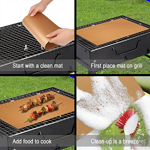 BestGreen BBQ Grill Mats and Bake Mats (6pcs) – 100% Non-stick FDA-Approved, Reusable and Easy to Clean -Black grill mat