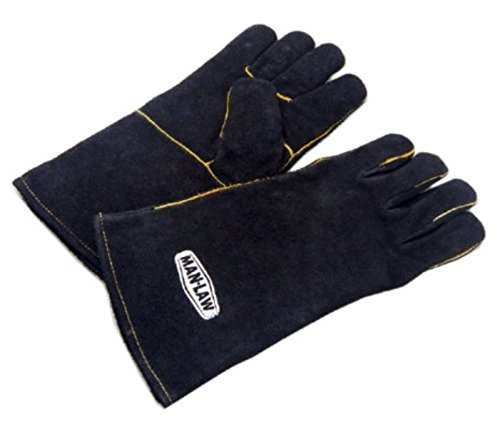 Man Law BBQ Products MAN-LG1 Protective/Wareable/Outdoor Gear Series Leather Gloves-1 Pair, One Size, Black and White