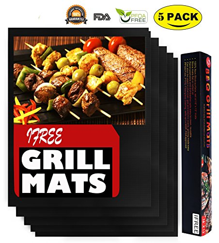 Grill Mat BBQ Accessories -Set of 5 Premium Non Stick BBQ Grill Mats – FDA-Approved, PFOA Free, Reusable and Easy to Clean – Extended Warranty (16 x 13 Inch)