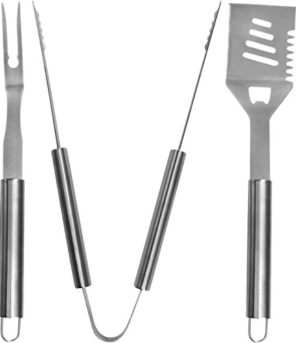 BBQ Grilling Tool Set – BBQ Accessories – Premium Stainless Steel Construction – Spatula Tong Fork – BBQ Gift – by Utopia Home (3 – Piece Set)