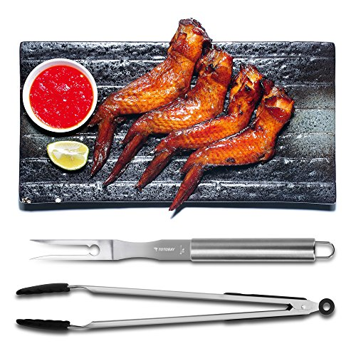 BBQ Tools Set, totobay 4-Piece Grill Tools set Multufuctional Heavy Duty Stainless Steel Barbecue Grilling Utensils,Outdoor Grilling Kit for Barbecue Spatula,Tongs, Fork, and Cleaning Brush (4 piece)