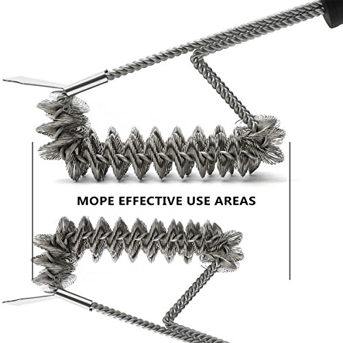RVZHI Grill Brush with Integrated Cleaning Scraper,18 Inches 3 in 1 BBQ Grill Brush, Durable & Effective, Barbecue Grill Cleaning Brush Kit 360°Rotation Clean Safe & Perfect Barbecue Tool