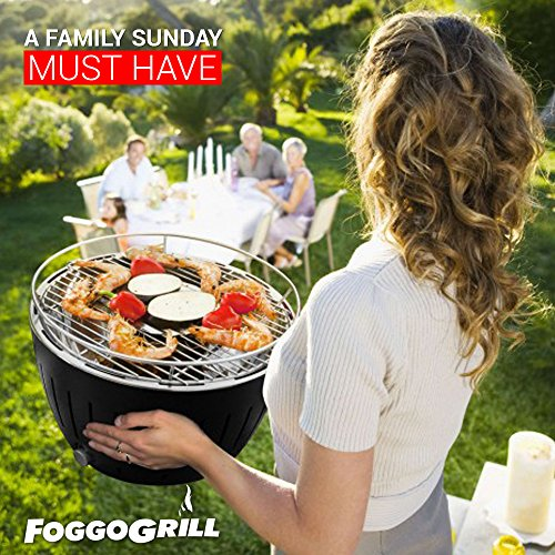 Foggo Grill Smokeless Indoor Grill   Portable Charcoal Electric BBQ w/Battery Operated Fan – Includes Travel Bag for Outdoor Barbeques, Camping, Picnic & the Beach