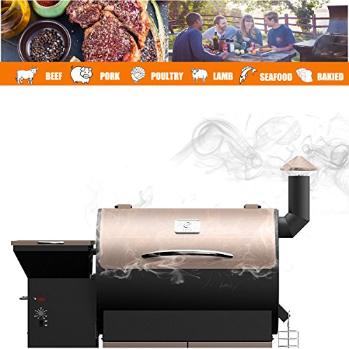Z Grills Wood Pellet Grill & Smoker with Patio Cover,700 Cooking Area 7 in 1- Grill, Smoke, Bake, Roast, Braise and BBQ with Electric Digital Controls for Outdoor (Black and Bronze)